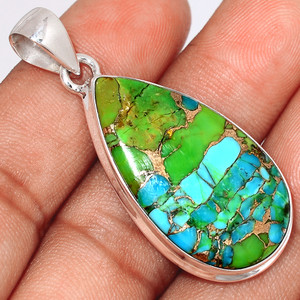 Blue Turquoise In Green Mohave 925 Sterling Silver Pendant  Jewelry BTGP76