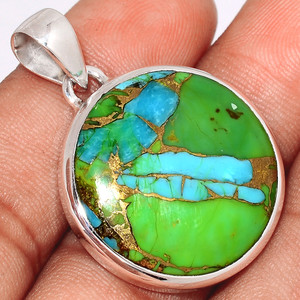 Blue Turquoise In Green Mohave 925 Sterling Silver Pendant  Jewelry BTGP61