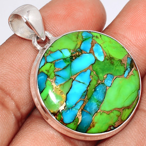 Blue Turquoise In Green Mohave 925 Sterling Silver Pendant  Jewelry BTGP74