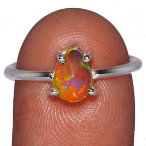 Natural Gemstone Faceted Ethiopian Opal 925 Silver Ring Jewelry s.8 EOFR1492