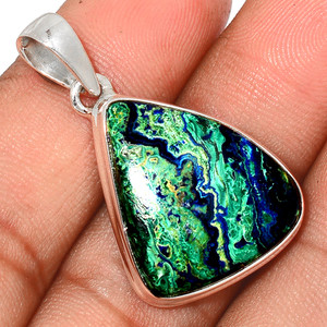 Malachite In Azurite 925 Sterling Silver Pendant  Jewelry MAZP672
