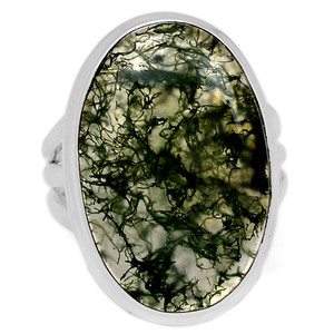 Natural Gemstone Moss Agate 925 Sterling Silver Ring Jewelry s.7 MOSR656