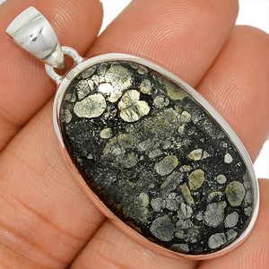14g Pyrite In Agate 925 Sterling Silver Pendant  Jewelry PIAP182