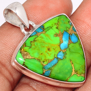 Blue Turquoise In Green Mohave 925 Sterling Silver Pendant  Jewelry BTGP36