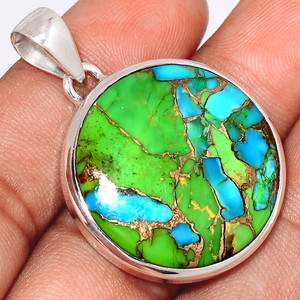 Blue Turquoise In Green Mohave 925 Sterling Silver Pendant  Jewelry BTGP75