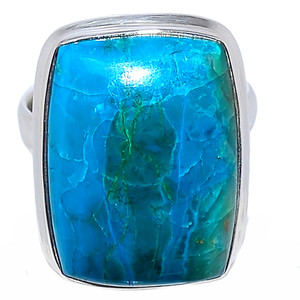 Natural Chrysocolla Peru 925 Sterling Silver Ring Jewelry s.9 CCPR333
