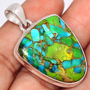 Blue Turquoise In Green Mohave 925 Sterling Silver Pendant  Jewelry BTGP59