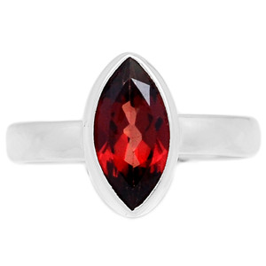 Deep Red Faceted Garnet 925 Sterling Silver Ring Jewelry s.8 GNFR691