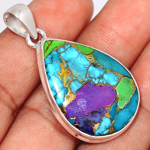 Multi Copper Turquoise 925 Sterling Silver Pendant  Jewelry MCTP40