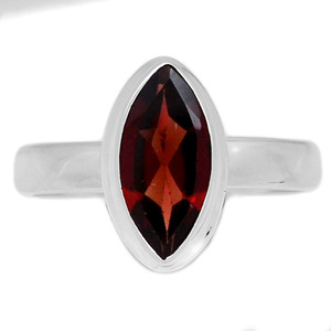Faceted Garnet 925 Sterling Silver Ring Jewelry s.7 GNFR639