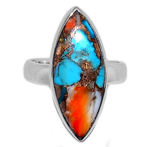Spiny Oyster Arizona Turquoise 925 Sterling Silver Ring Jewelry s.6 SOTR884