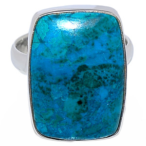 Natural Chrysocolla Peru 925 Sterling Silver Ring Jewelry s.10 CCPR327
