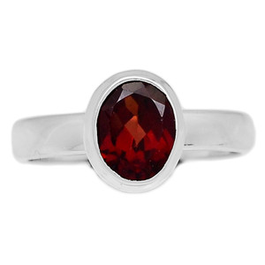 Faceted Garnet 925 Sterling Silver Ring Jewelry s.6 GNFR646