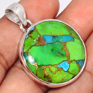 Blue Turquoise In Green Mohave 925 Sterling Silver Pendant  Jewelry BTGP48