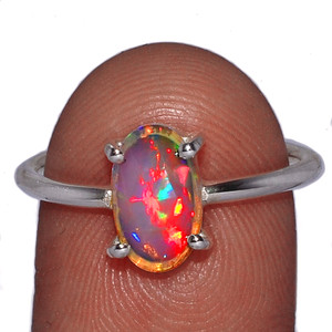 Beautiful Faceted Ethiopian Opal 925 Sterling Silver Ring Jewelry s.8.5 EOFR1522