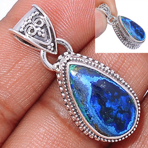 Malachite In Azurite 925 Sterling Silver Pendant  Jewelry MAZP684