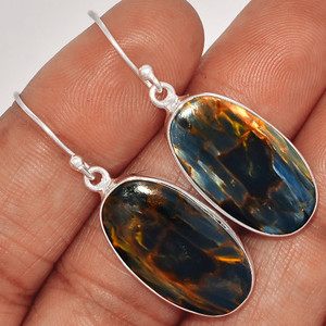 Pietersite Cab 925 Sterling Silver Earrings Jewelry PTCE548