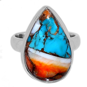Spiny Oyster Arizona Turquoise 925 Sterling Silver Ring Jewelry s.5.5 SOTR905