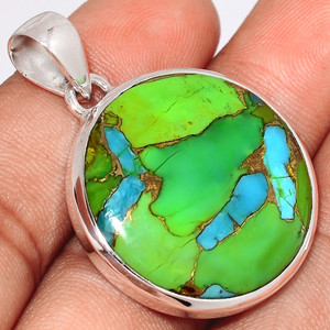 Blue Turquoise In Green Mohave 925 Sterling Silver Pendant  Jewelry BTGP50