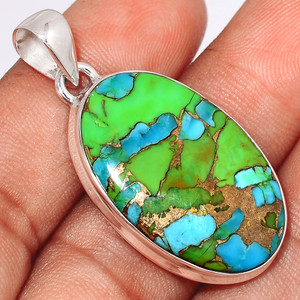 Blue Turquoise In Green Mohave 925 Sterling Silver Pendant  Jewelry BTGP66