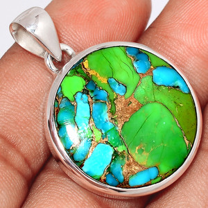 Blue Turquoise In Green Mohave 925 Sterling Silver Pendant  Jewelry BTGP77