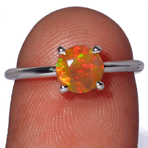 Beautiful Faceted Ethiopian Opal 925 Sterling Silver Ring Jewelry s.6 EOFR1545