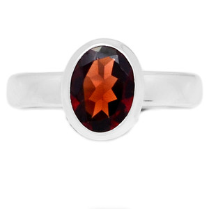Deep Red Faceted Garnet 925 Sterling Silver Ring Jewelry s.6 GNFR686