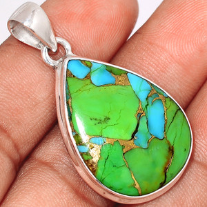 Blue Turquoise In Green Mohave 925 Sterling Silver Pendant  Jewelry BTGP62