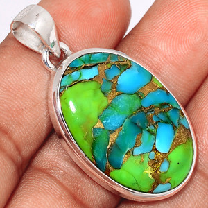 Blue Turquoise In Green Mohave 925 Sterling Silver Pendant  Jewelry BTGP43