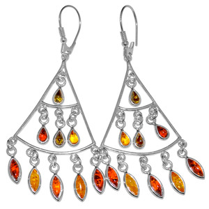 11.34g Authentic Baltic Amber 925 Sterling Silver Earrings Jewelry A8216