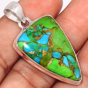 Blue Turquoise In Green Mohave 925 Sterling Silver Pendant  Jewelry BTGP39