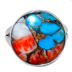 Spiny Oyster Arizona Turquoise 925 Sterling Silver Ring Jewelry s.7 SOTR908