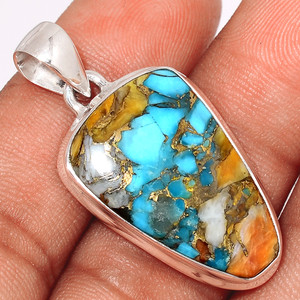 Spiny Oyster Arizona Turquoise 925 Sterling Silver Pendant  Jewelry SOTP646