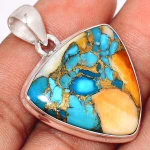 Spiny Oyster Arizona Turquoise 925 Sterling Silver Pendant  Jewelry SOTP674