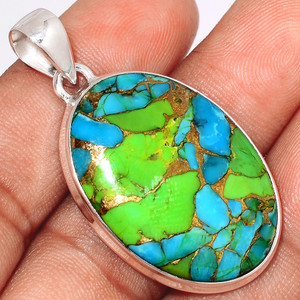 Blue Turquoise In Green Mohave 925 Sterling Silver Pendant  Jewelry BTGP70