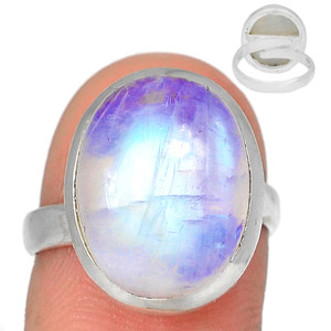 Adjustable Ring - Blue Fire Moonstone 925 Silver Ring Jewelry s.7.5 BFMR3911