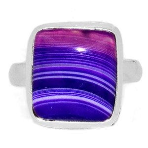 Blue Botswana Agate 925 Sterling Silver Ring Jewelry s.9.5 BSAR777