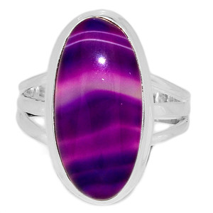 Blue Botswana Agate 925 Sterling Silver Ring Jewelry s.9.5 BSAR771