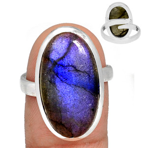 Adjustable Ring - Blue Fire Labradorite 925 Silver Ring Jewelry s.8.5 BFLR2108