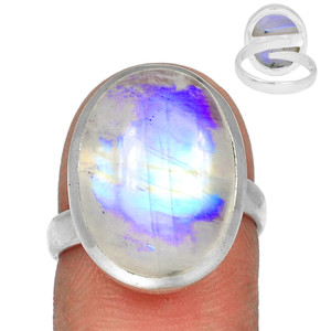 Adjustable Ring - Blue Fire Moonstone 925 Silver Ring Jewelry s.7.5 BFMR3940