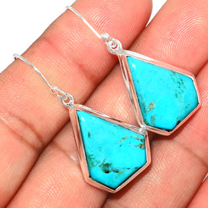 Beautiful Blue Mohave Turquoise 925 Sterling Silver Earrings Jewelry BMTE1239