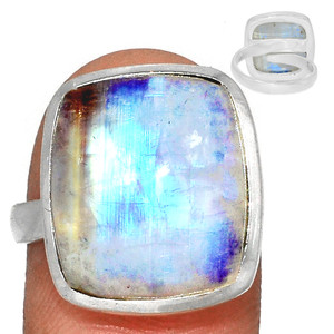 Adjustable Ring - Blue Fire Moonstone 925 Silver Ring Jewelry s.7.5 BFMR3921