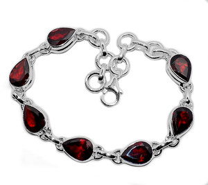 13g Faceted Garnet 925 Sterling Silver Bracelet Jewelry GRFB149