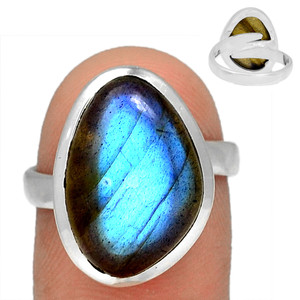 Adjustable Ring - Blue Fire Labradorite 925 Silver Ring Jewelry s.8 BFLR2132