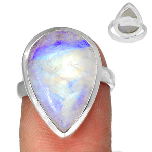 Adjustable Ring - Blue Fire Moonstone 925 Silver Ring Jewelry s.7.5 BFMR3935