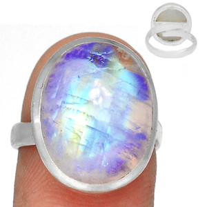 Adjustable Ring - Blue Fire Moonstone 925 Silver Ring Jewelry s.7 BFMR3930
