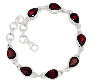 15g Faceted Garnet 925 Sterling Silver Bracelet Jewelry GRFB127