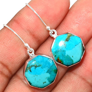 Genuine Blue Mohave Turquoise 925 Sterling Silver Earrings Jewelry BMTE1270