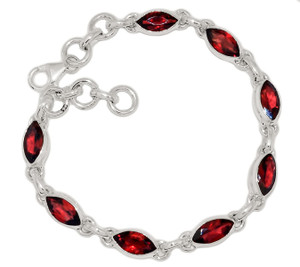 12g Faceted Garnet 925 Sterling Silver Bracelet Jewelry GRFB126