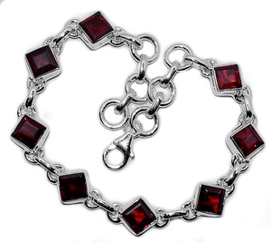13g Faceted Garnet 925 Sterling Silver Bracelet Jewelry GRFB150